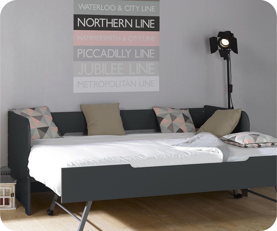 Sof cama nido juvenil de 80x200cm gris antracita modelo bali for Camas divan juveniles