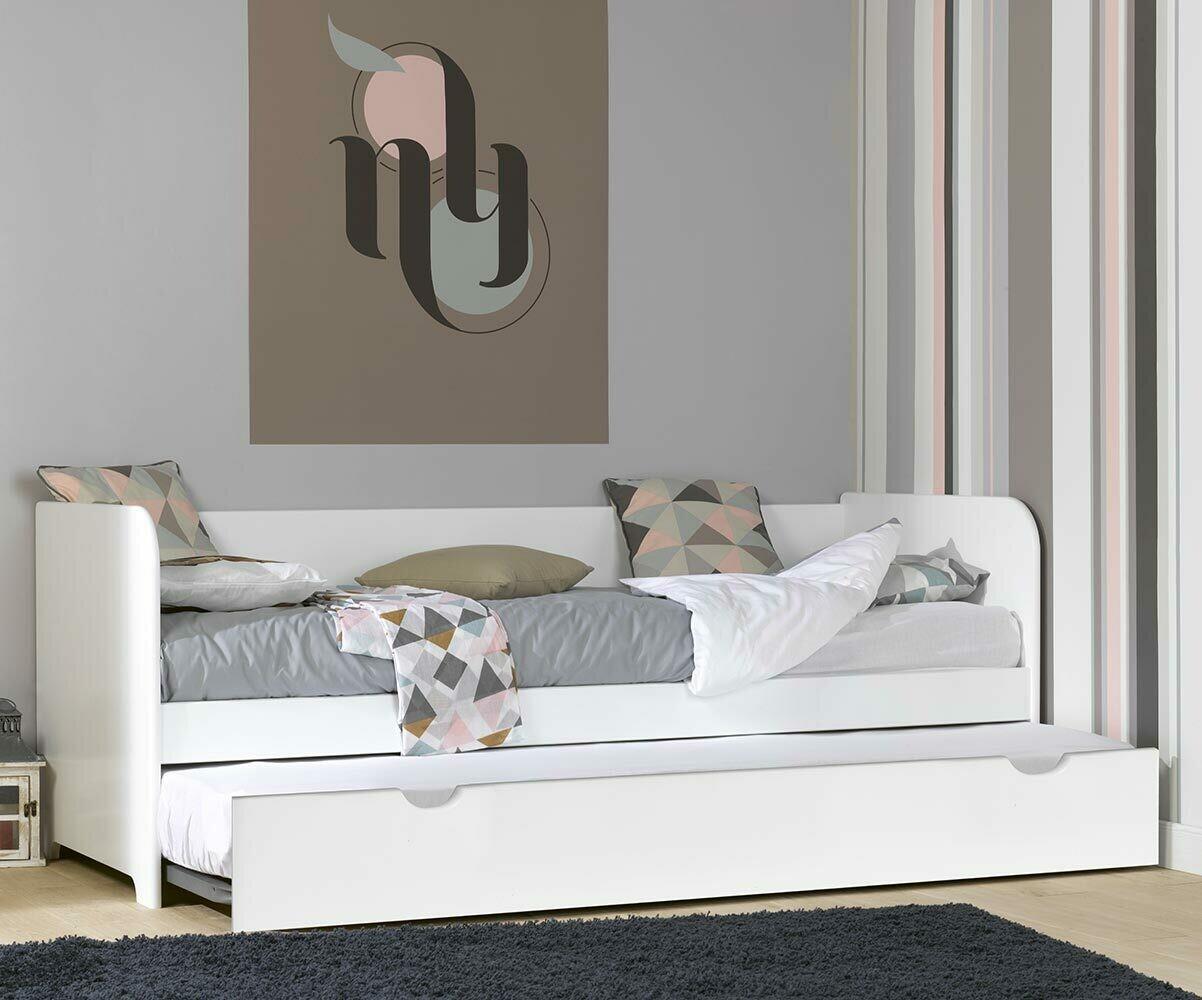 Sof cama nido con colchones 80x200 color blanco madera for Cama nido con colchones