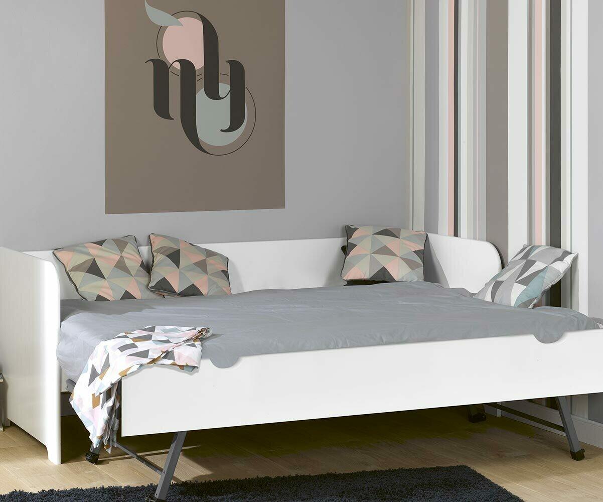 Sof cama nido con colchones 80x200 color blanco madera for Sofa cama nido 1 plaza