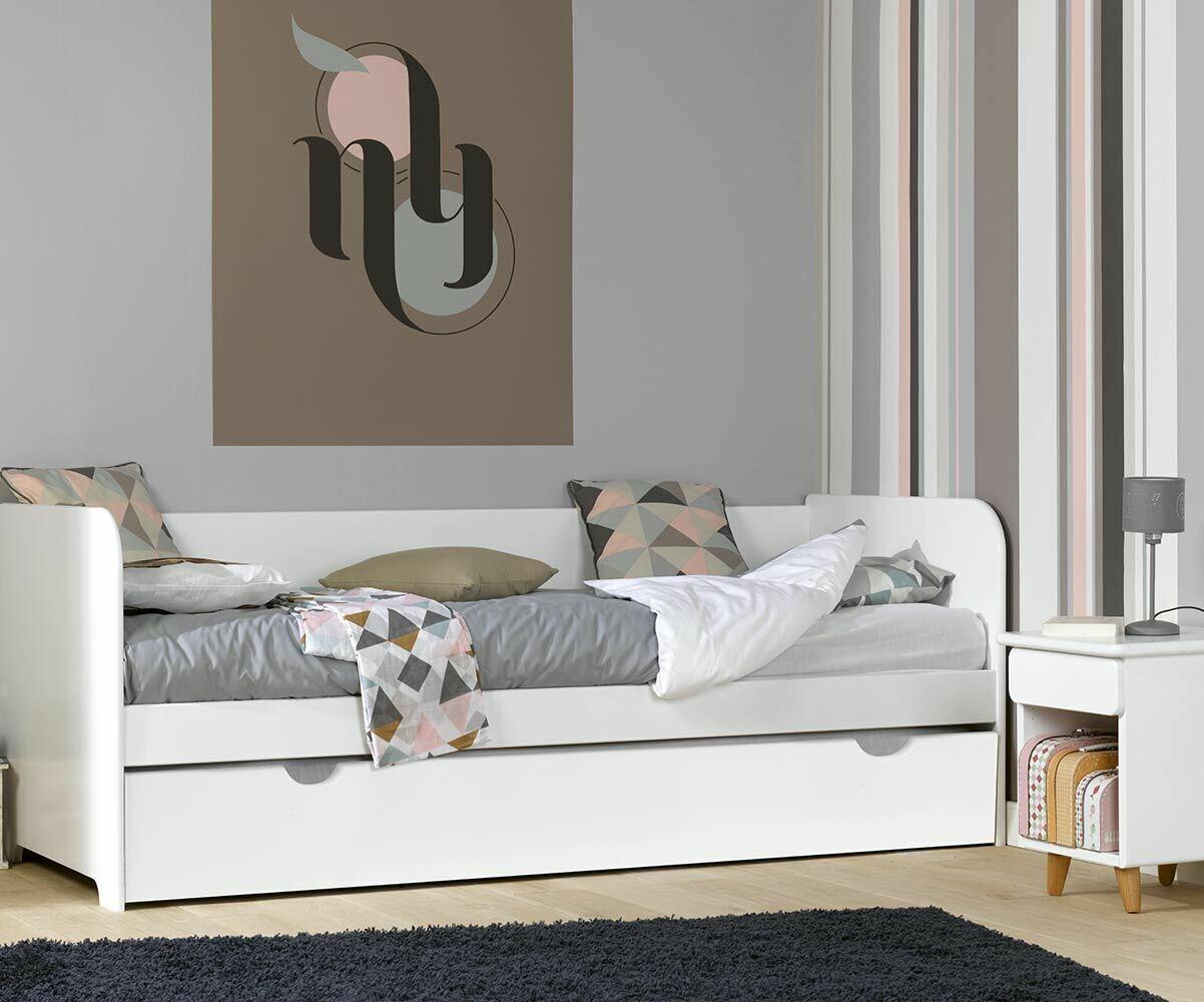 Sofá Cama nido con colchones. 80x200 color blanco madera maciza