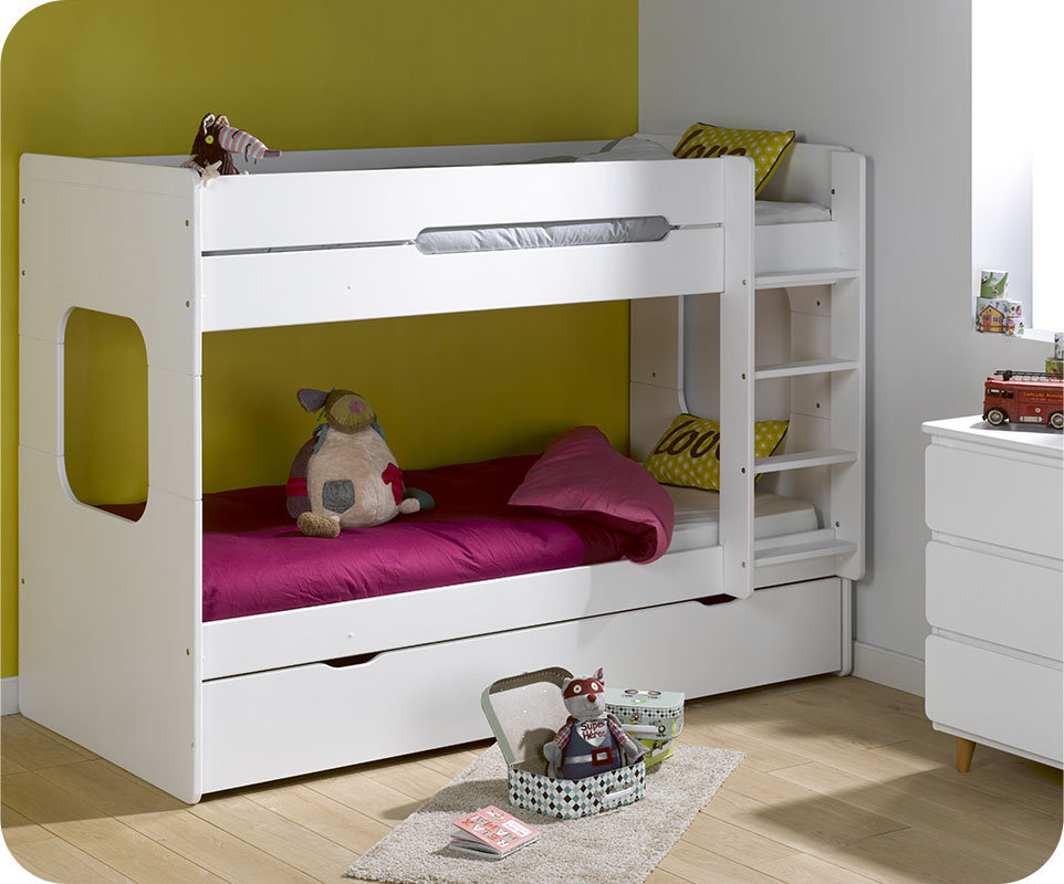 Litera spark con cama nido 90x200cm blanca for Camas blancas de madera