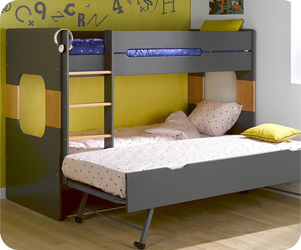 Litera spark con cama nido 90x200cm gris antracita for Cama nido color madera