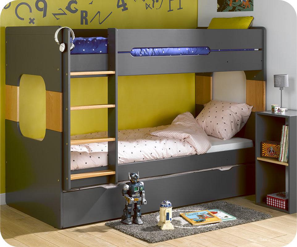 Litera spark con cama nido 90x200cm gris antracita for Oferta literas juveniles