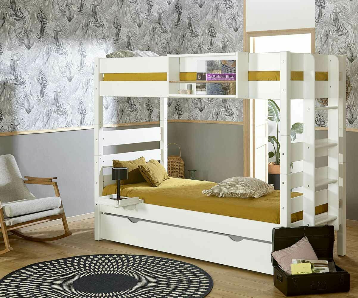 Litera alta con cama nido color blanco 90x190 cm for Cama nido de tres camas