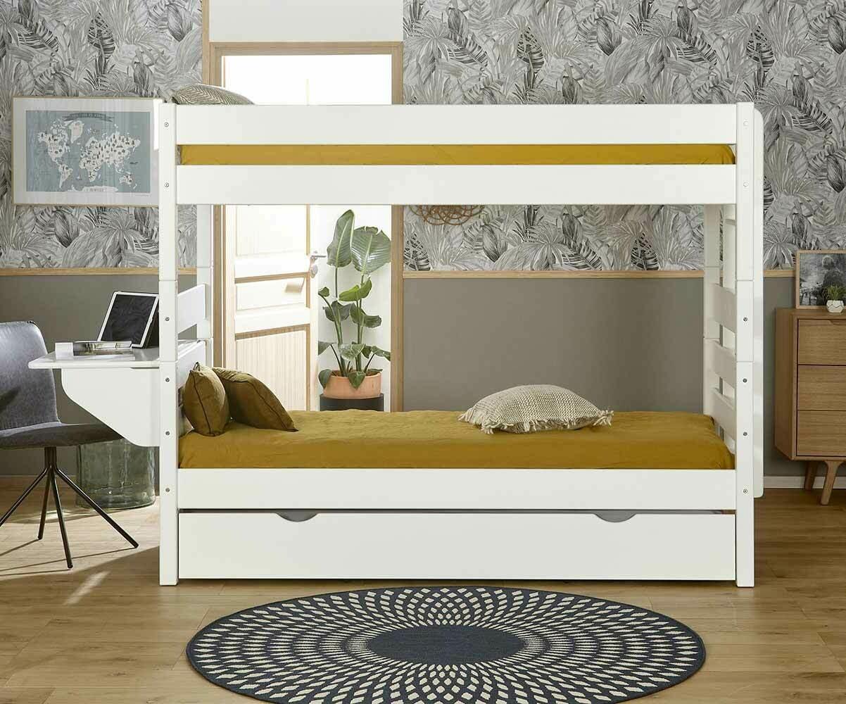 Litera alta con cama nido color blanco 90x190 cm for Cama litera