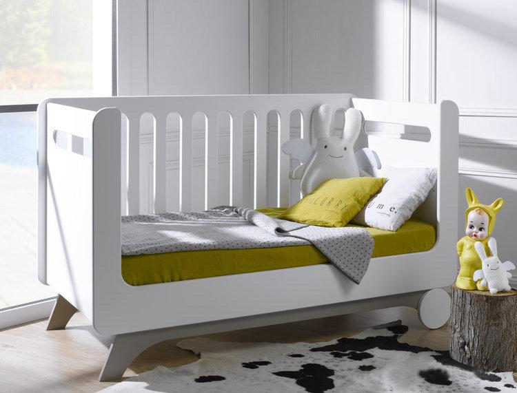 Cuna feliz 70x140cm blanca abedul convertible en sof cama for Cama 70x140