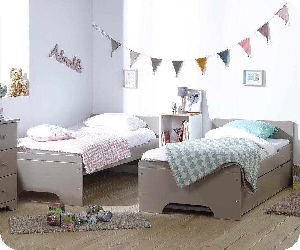 Litera juvenil 90x200 de madera maciza modelo spark lino for Medidas cama twin en centimetros
