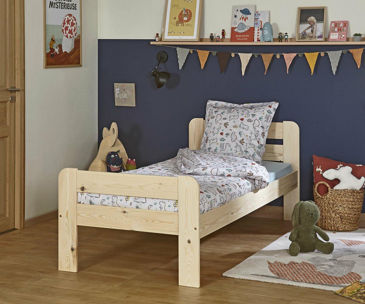 Cama infantil de madera maciza blanca con somier y colch n for Camas blancas de madera