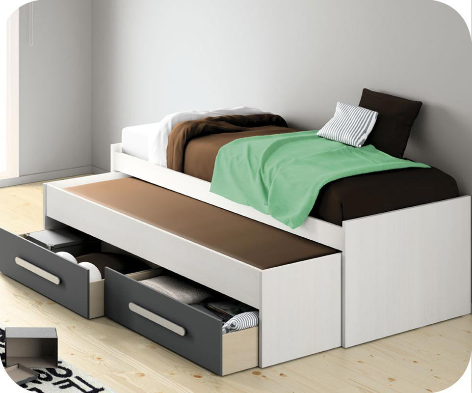 cama nido 90x200 con cajones grises 2 colchones. Black Bedroom Furniture Sets. Home Design Ideas