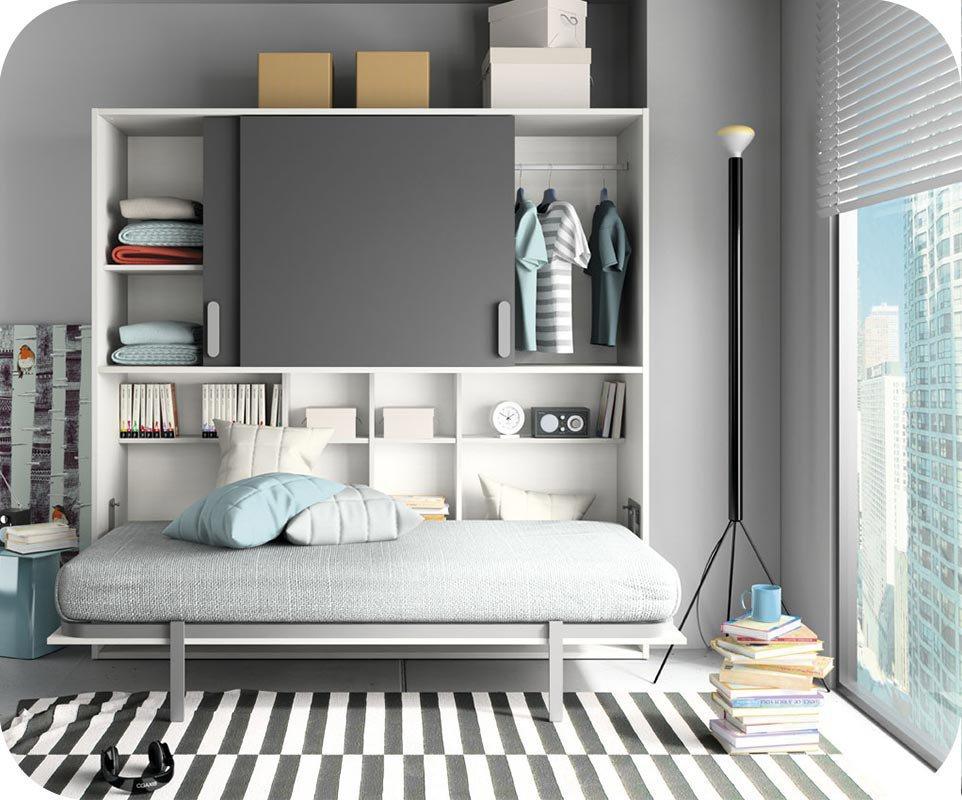Pack cama juvenil abatible de 90x190cm con colch n - Cama abatible juvenil ...