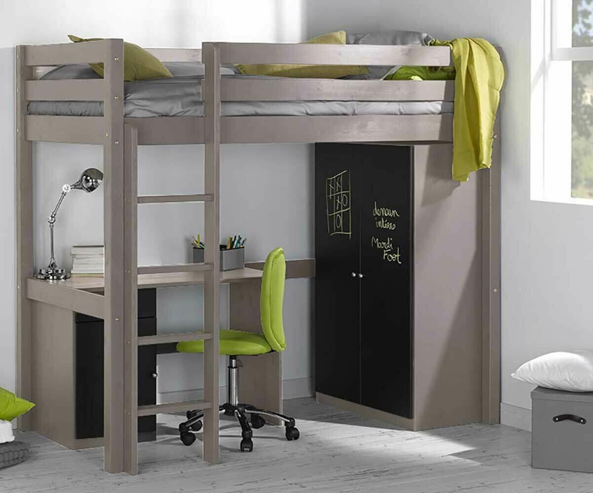 Cama alta de 90x190cm blanca modelo wood - Cama alta con escritorio ...