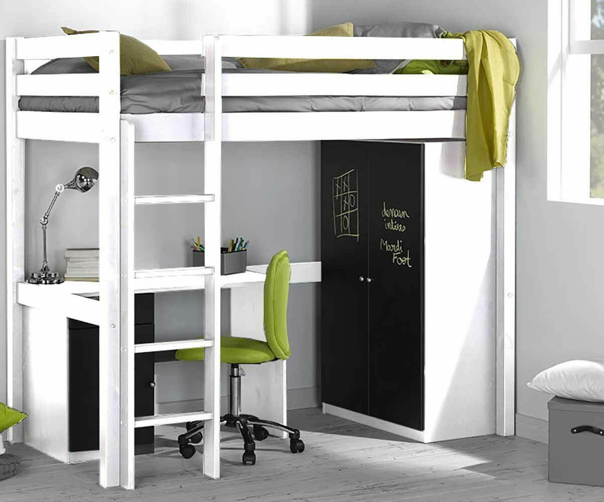 cama alta de 90x190cm blanca modelo wood. Black Bedroom Furniture Sets. Home Design Ideas