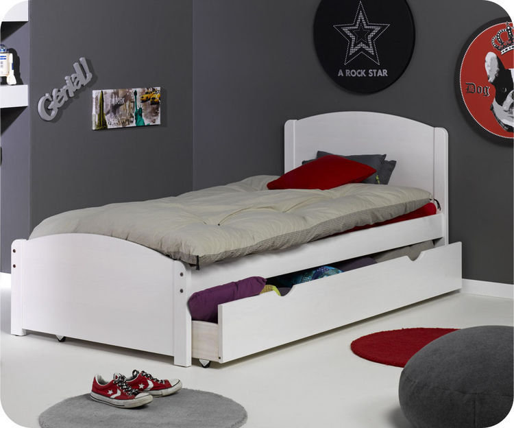 Cama juvenil de 90x200 en color blanco