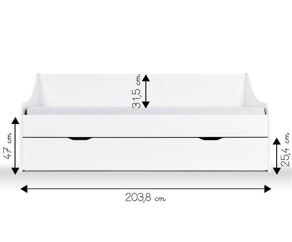 Sof cama nido 80x200cm lylo blanco for Dimensiones cama nido