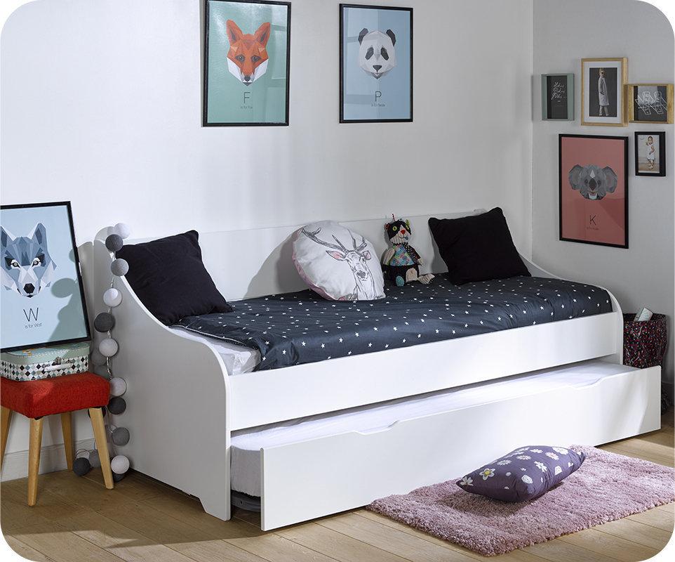 Sof cama nido con colchones de 80x200 cm blanco for Ofertas de camas nido