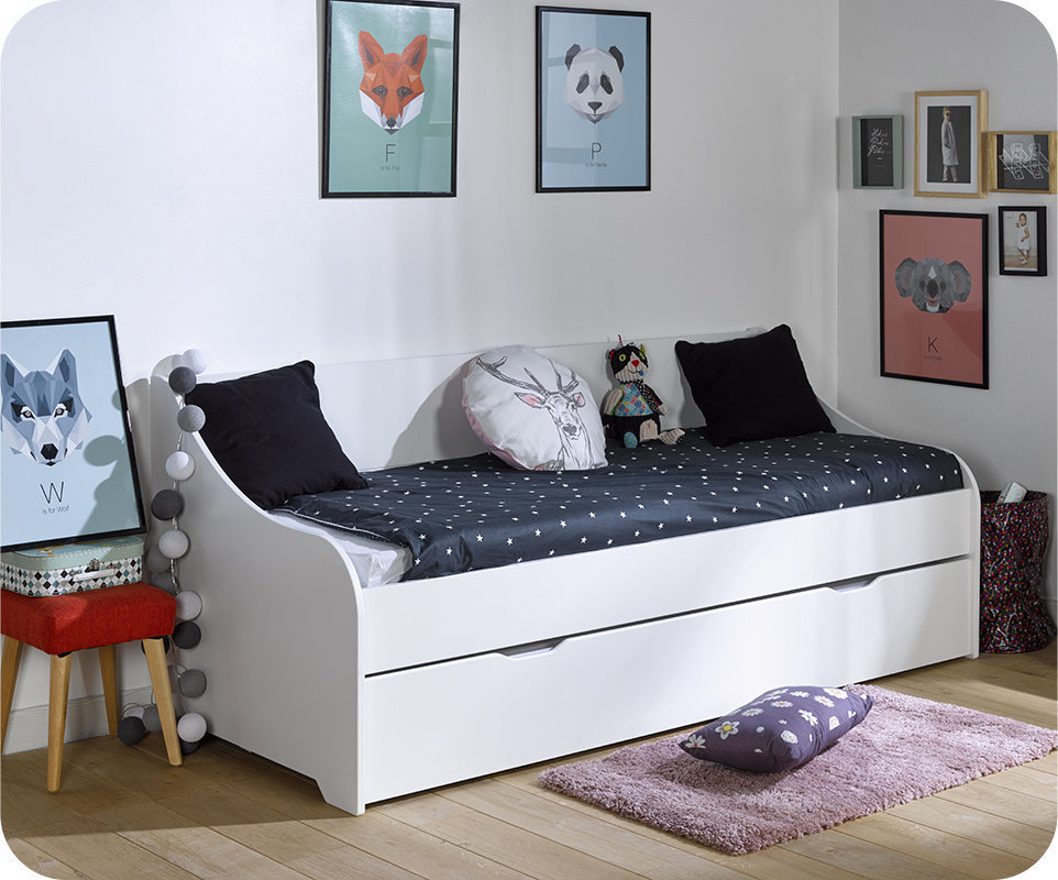 Sofá Cama Nido con colchones de 80x200 cm blanco