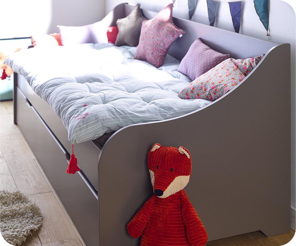 Sof cama nido con colchones de 80x200 cm gris for Ofertas de camas nido