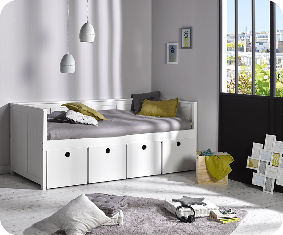 Sofa cama swam blanco con 4 cajones y colch n - Sofas con cajones ...