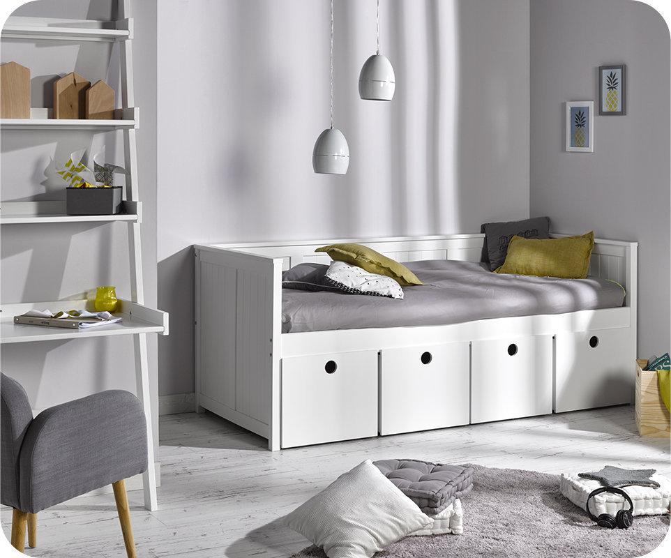 Sofa Cama SWAM Blanco con 4 cajones y colchón