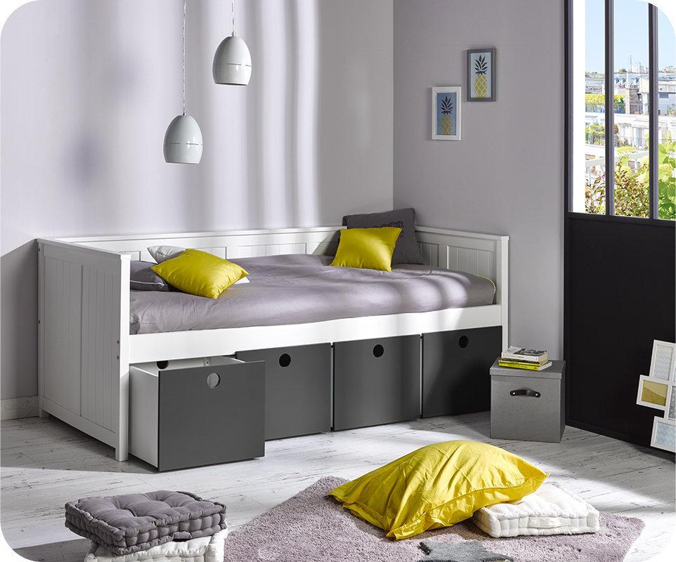 Sofa cama swam blanco con 4 cajones y colch n for Sofa cama con almacenaje