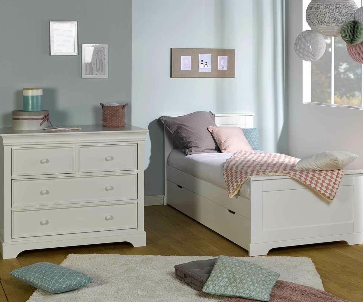 Dormitorio juvenil MEL blanco Cama juvenil y Cómoda