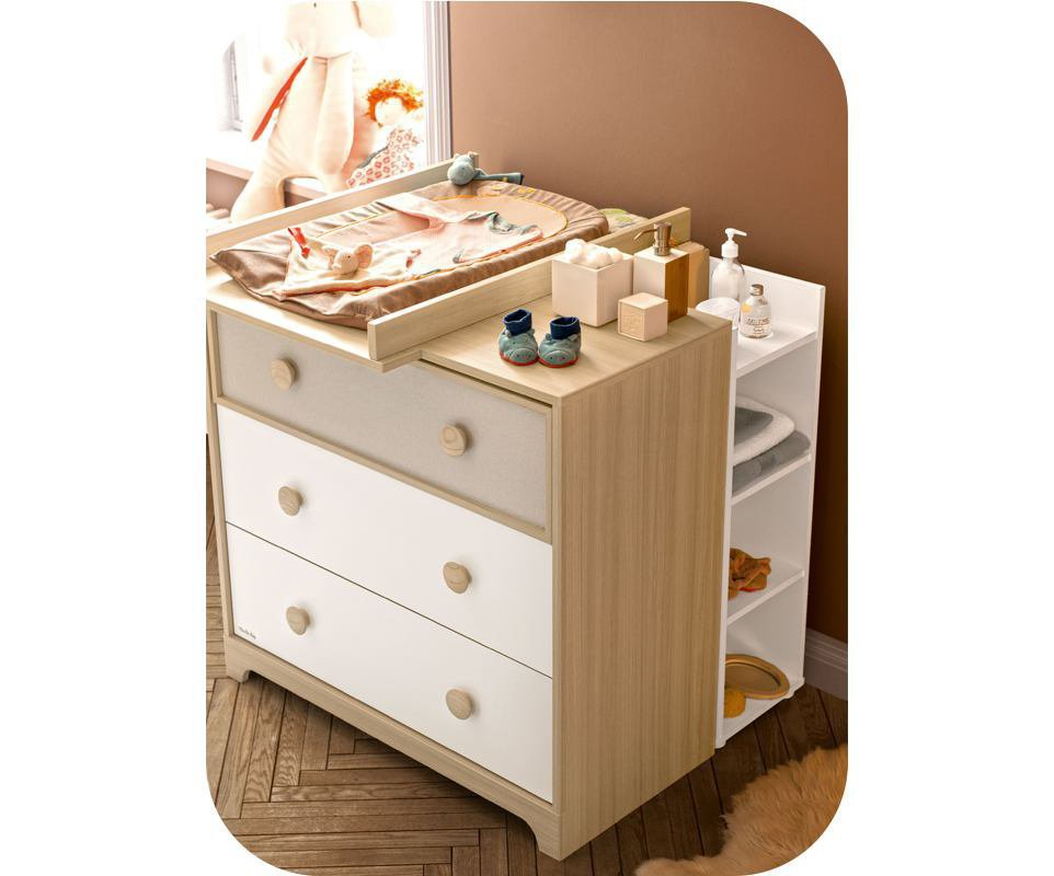 C moda para beb eol color madera y blanca - Comoda cambiador bebe ...