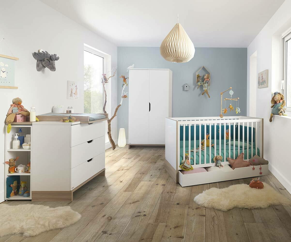 Habitaci n beb completa pluma blanca y madera - Habitacion completa bebe ...