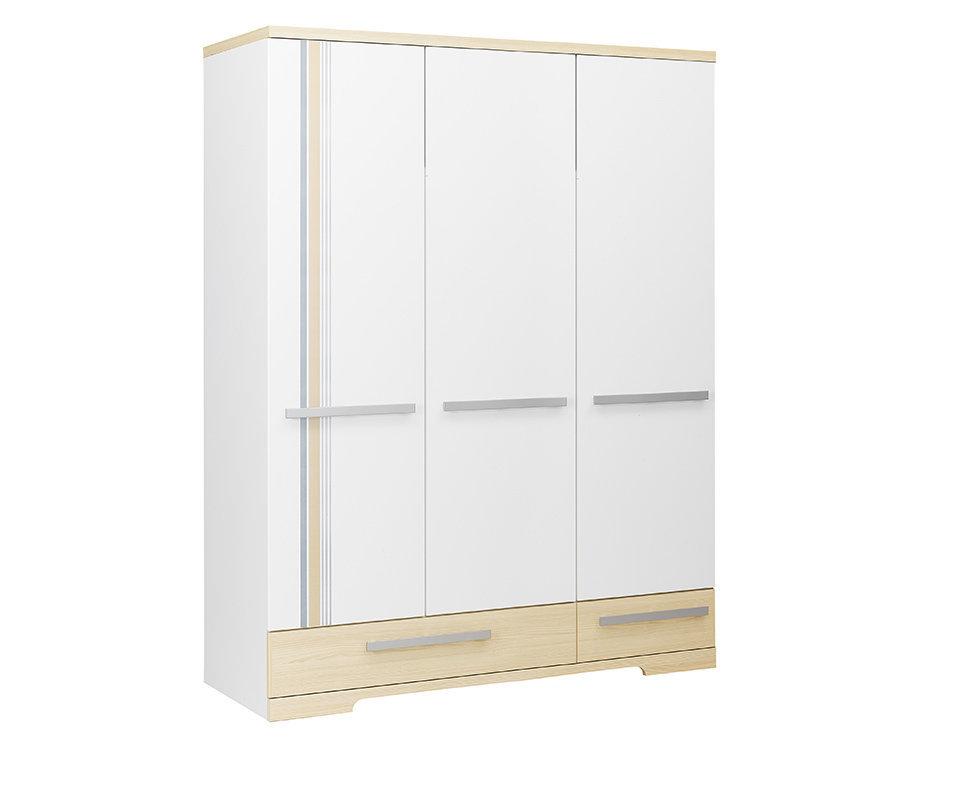Armario juvenil 3 puertas bora blanco y madera - Armario madera blanco ...