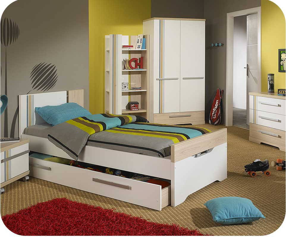 Dormitorio juvenil bora 5 muebles blanco y madera for Dormitorios juveniles de madera