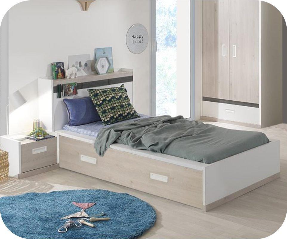 Cama juvenil leo blanca y madera 90x200cm for Camas blancas de madera
