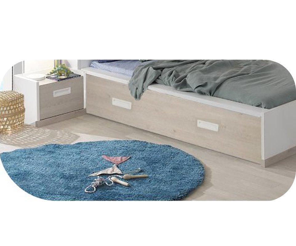 Caj n de almacenaje para cama leo 90x200 blanco y madera for Somier con almacenaje