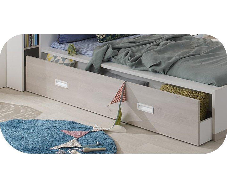 Cajón de almacenaje para cama Leo 90x200 Blanco y Madera