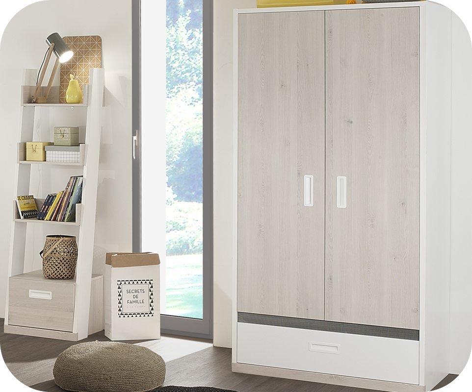 Armario juvenil 2 puertas leo blanco y madera for Armarios juveniles
