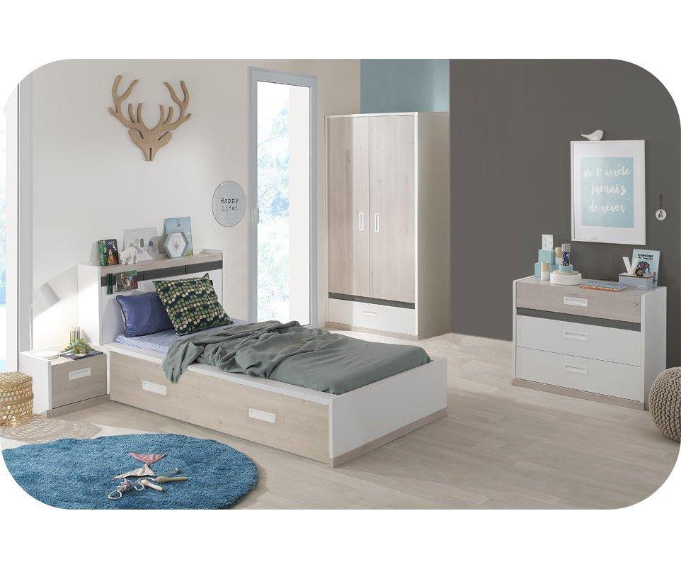 Dormitorio juvenil leo de 5 muebles blanco y madera for Sofas para habitaciones juveniles