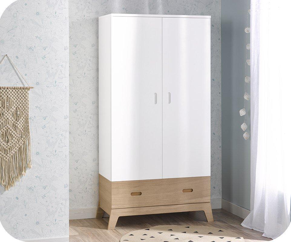 armario juvenil aloa 2 puertas blanco madera