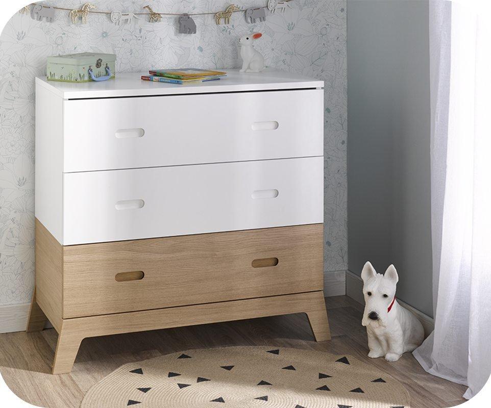C moda juvenil aloa blanca y madera for Mesitas y comodas ikea