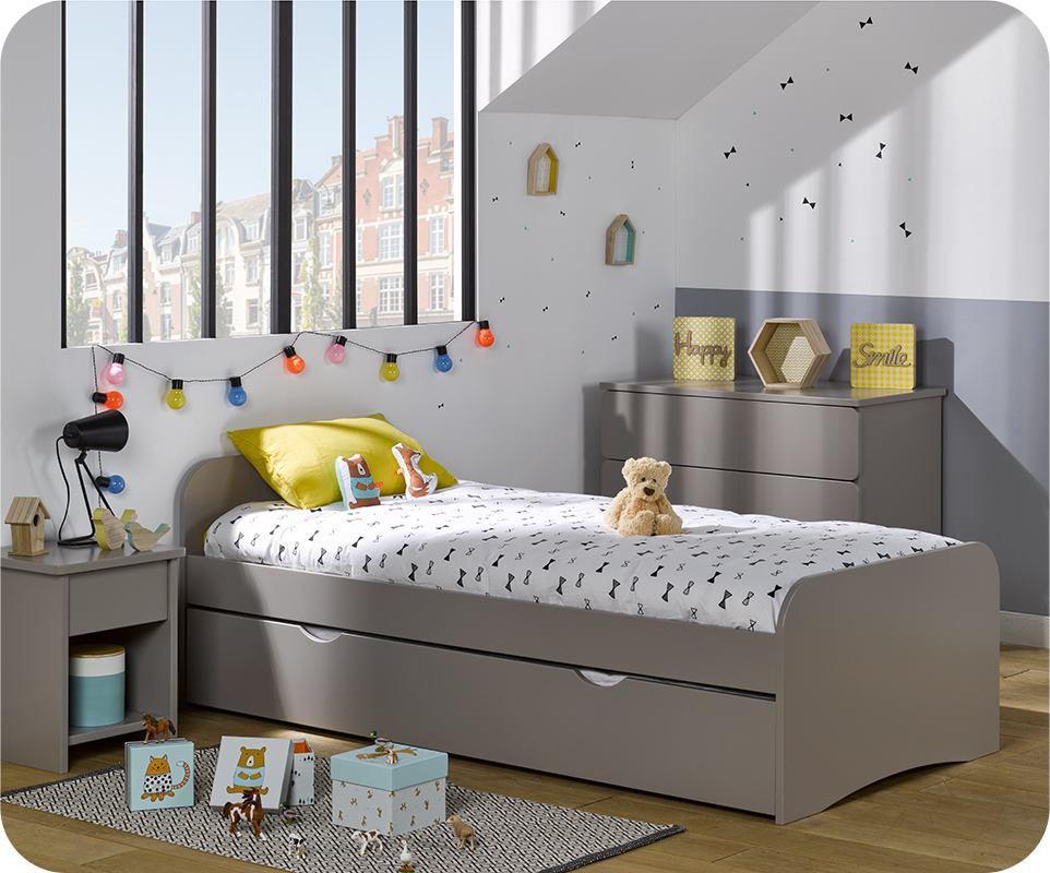 Cama de 90x190 cm con somier y colchón. Lino
