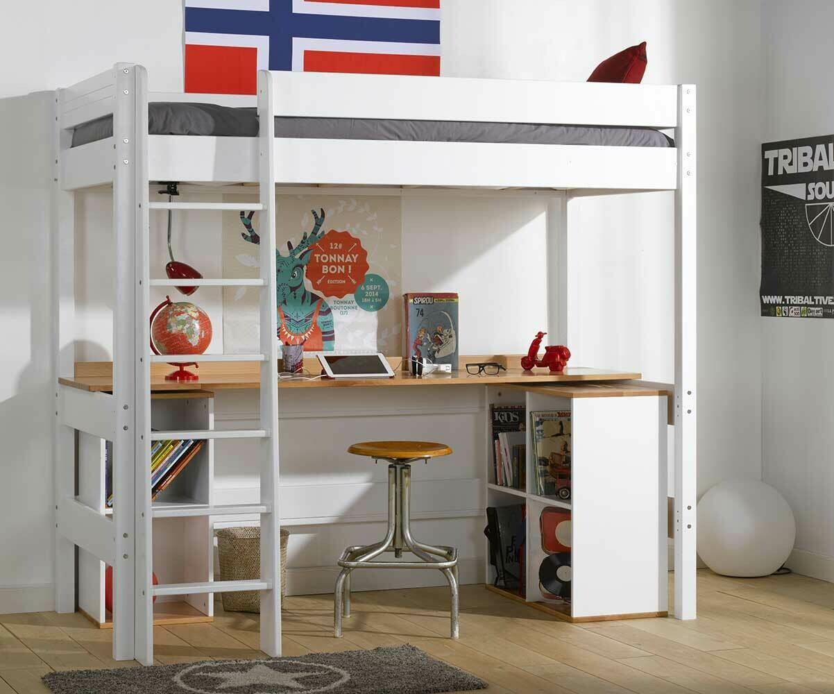 Cama alta juvenil clay 90x190cm blanca con escritorio - Cama alta con escritorio ...