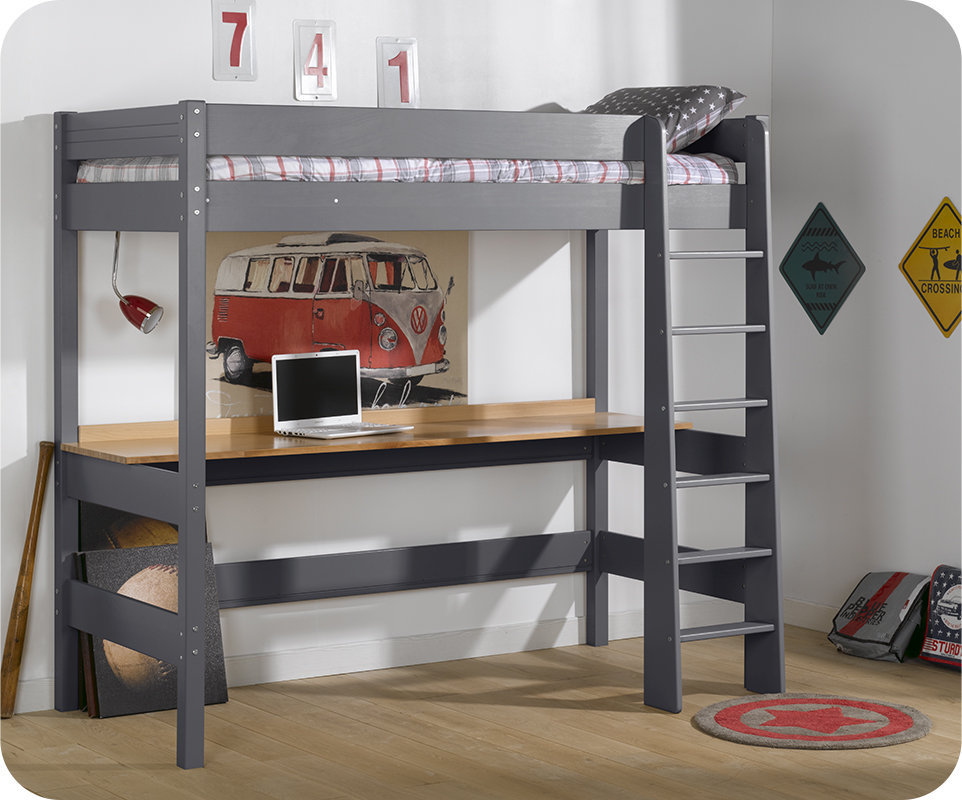 cama alta juvenil clay 90x190cm gris antracita con escritorio. Black Bedroom Furniture Sets. Home Design Ideas