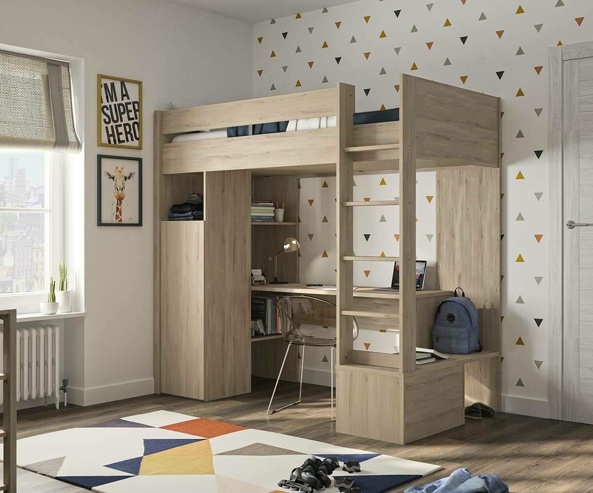 Habitaciones juveniles con cama con armario debajo - Cama litera con escritorio debajo ...
