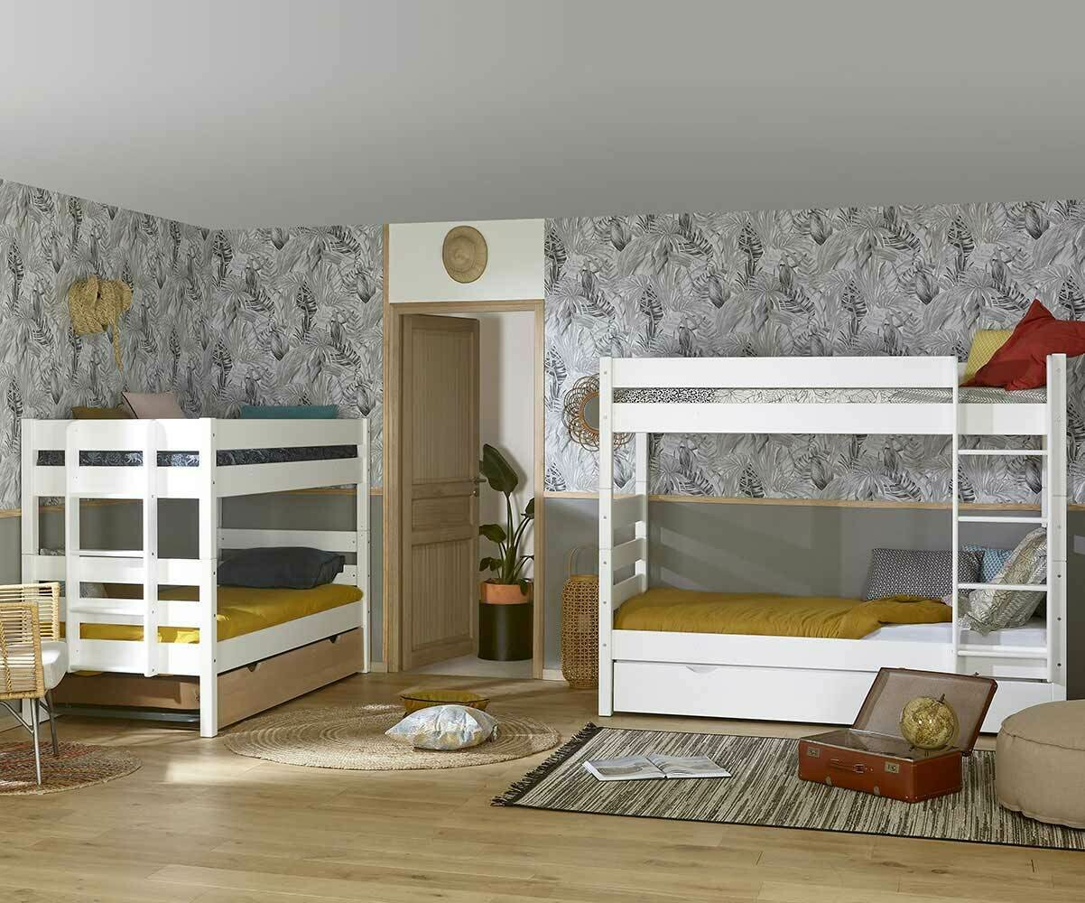 litera juvenil 1 2 3 90x190cm blanca madera maciza. Black Bedroom Furniture Sets. Home Design Ideas