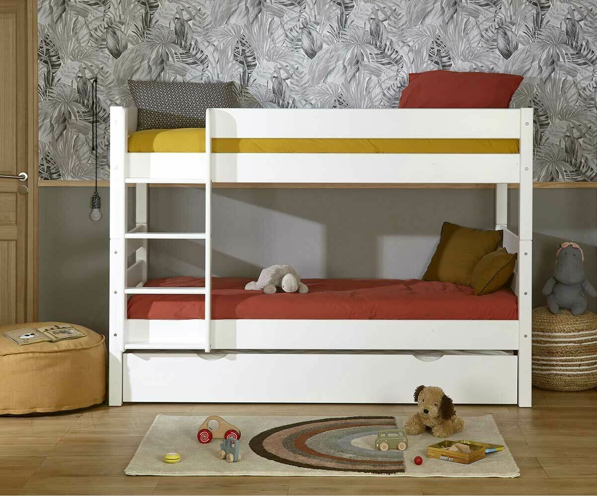 Litera juvenil 1 2 3 90x190cm blanca madera maciza - Modelos de camas nido para ninos ...