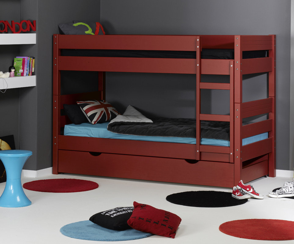 Litera 1 2 3 con cama nido supletoria roja 90x190cm for Cama nido color madera