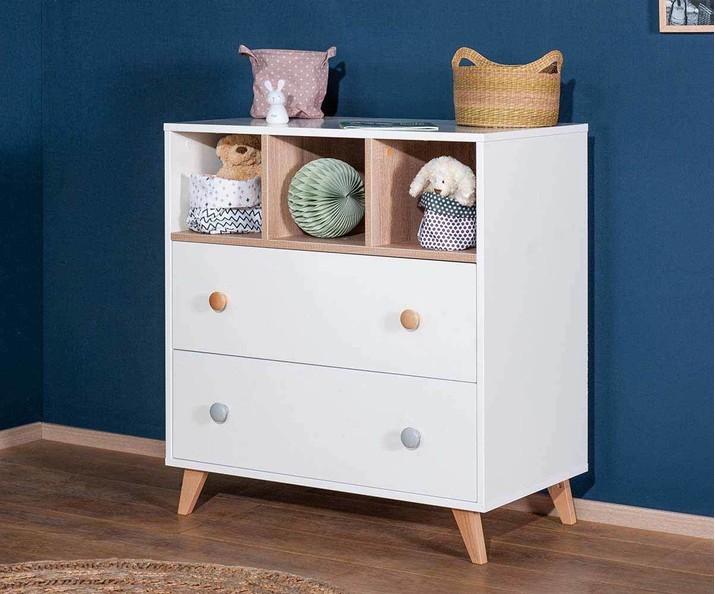 Dormitorio de beb cuna con colch n c moda color blanco abedul - Abedul blanco ...