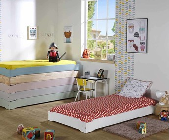 Cama apilable 90x190cm, pino macizo, color Blanco, Modelo HAPPY