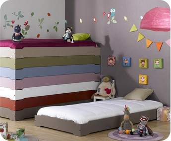 Cama apilable, HAPPY, 90x190, con somier, Chocolate