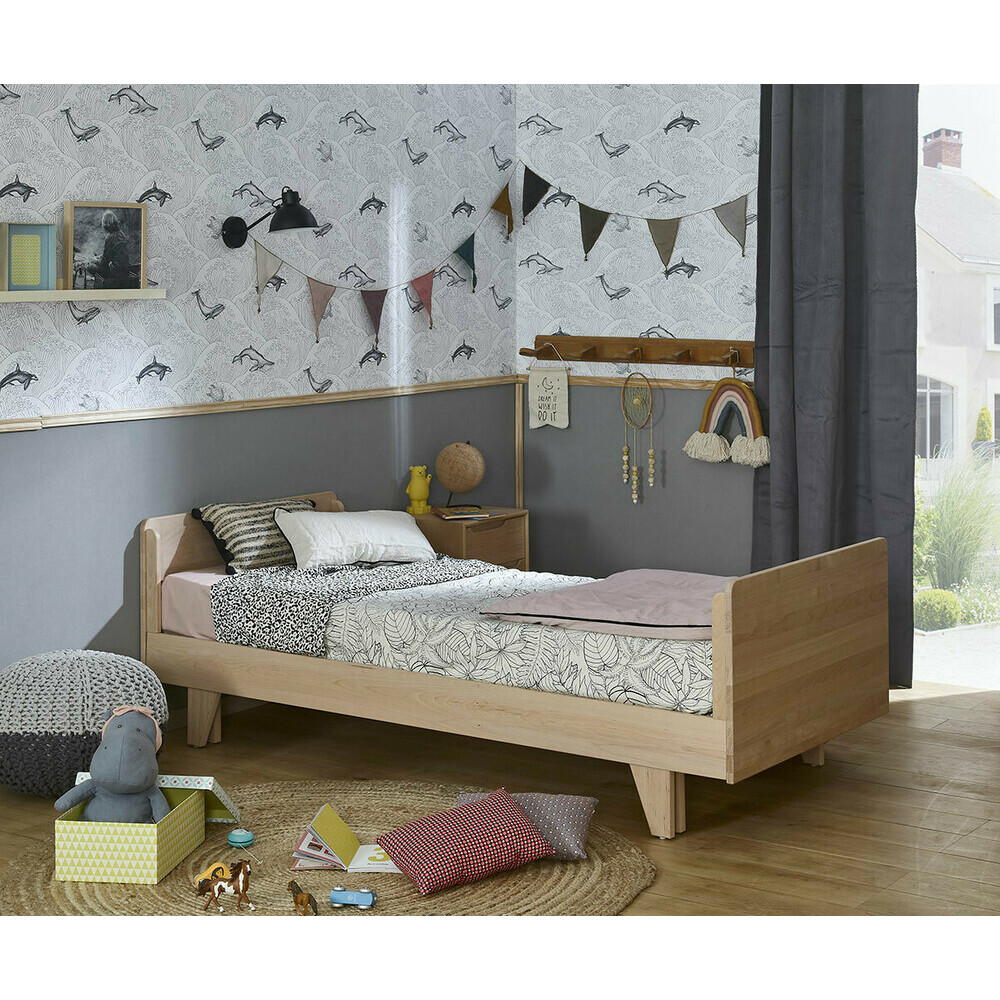 Cama juvenil de madera maciza de 90x190 color blanco nature for Cama nido blanca online