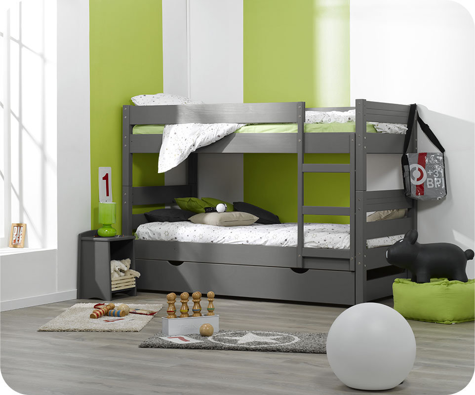 Litera 1 2 3 con cama nido supletoria gris 90x190cm - Litera con cama nido ...