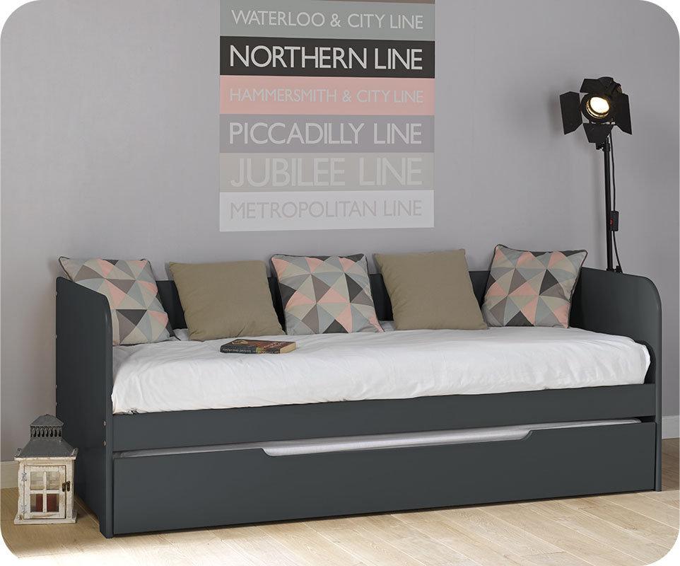 Sof cama nido juvenil de 80x200cm gris antracita modelo bali for Sofa cama juvenil