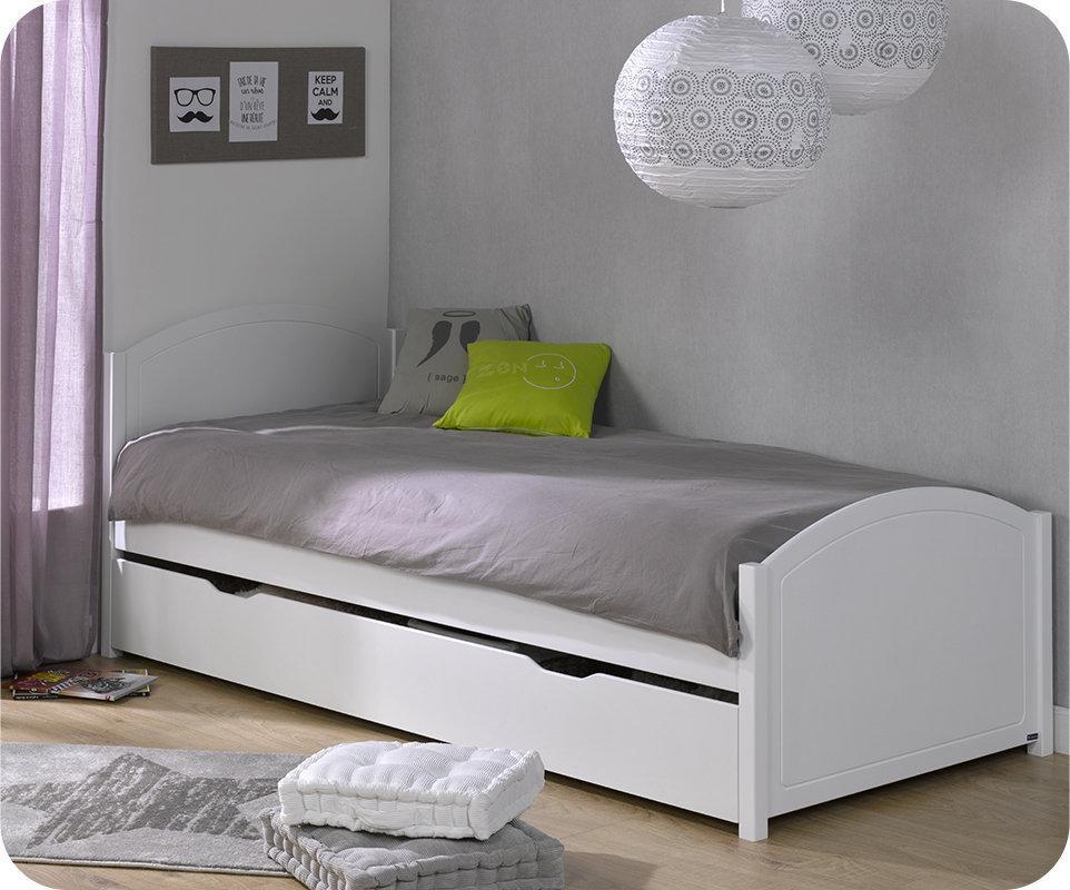cama juvenil de 90x200cm en color blanco modelo pac me